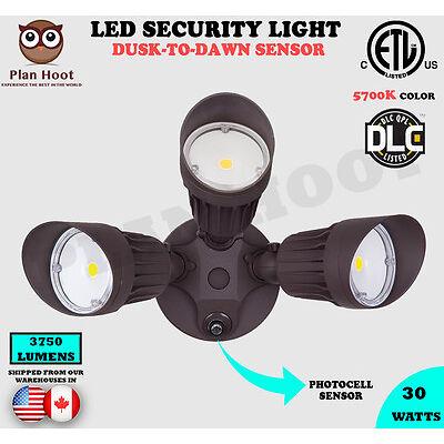 30WT Bronze 3-Headed Dusk-To-Dawn Photocell ETL DLC LED Outdoor Security Light