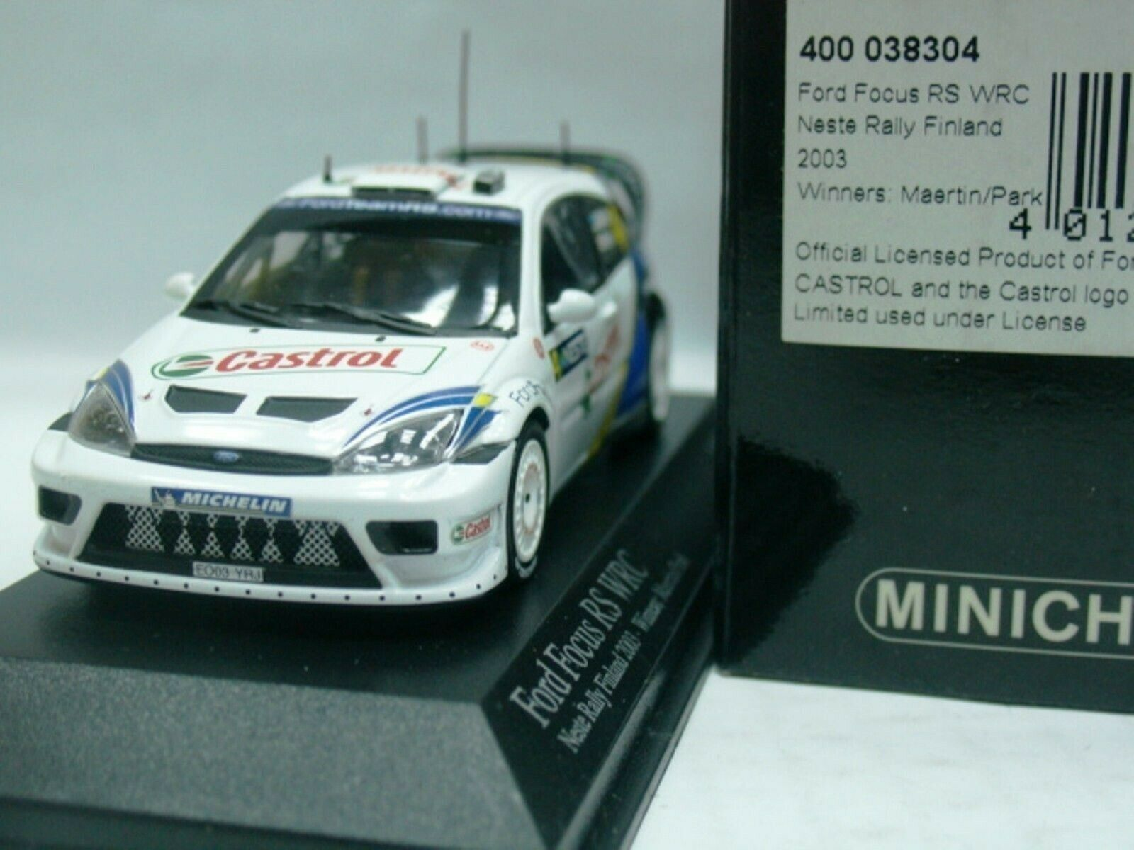 WOW EXTREMELY RARE Ford Focus RS WRC 2003 Martin Winner Finland 1 43 Minichamps
