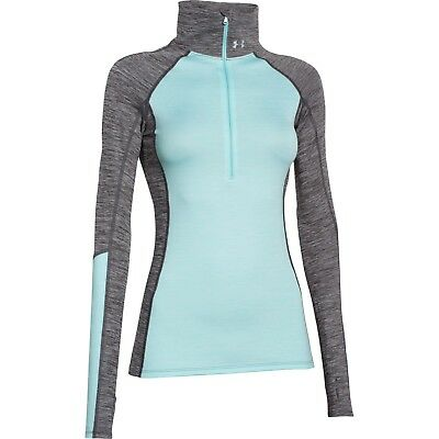 Under Armour Women's Coldgear Cozy 1/2 Zip Long Sleeve Top 1248526/008 Grey/blue