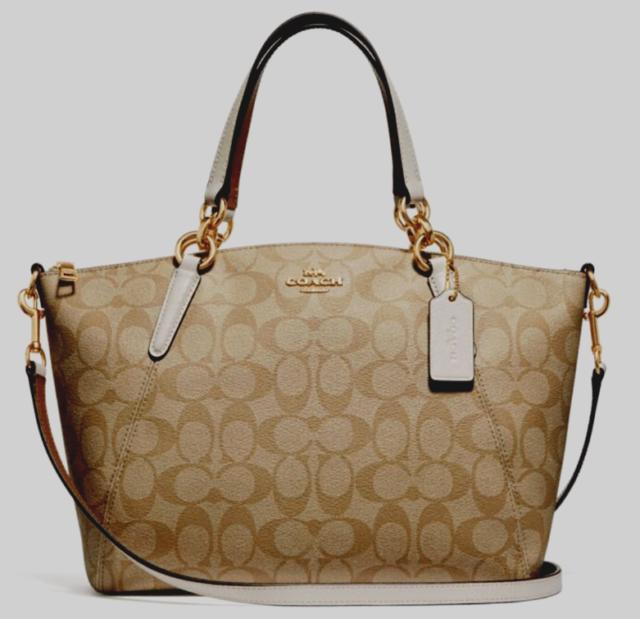 Coach F28989 Small Kelsey Satchel in Signature Canvas Handbag Purse Chalk 1094b5fda53d0