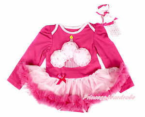 Infant Hot Pink Ice Cream Leopard Bodysuit Hot Pink Baby Dress Shoes Set NB-12M
