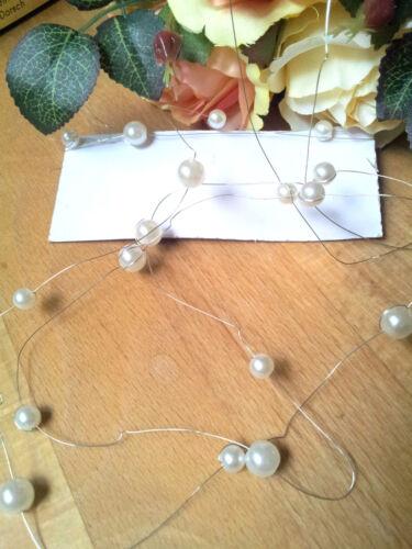 2m plata alambre perlas dekoperlen 6 8 mm perlas alambre blanco perlendeko perlas Band