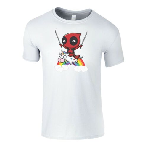 Deadpool On a Unicorn Womens Mens Kids T-Shirt