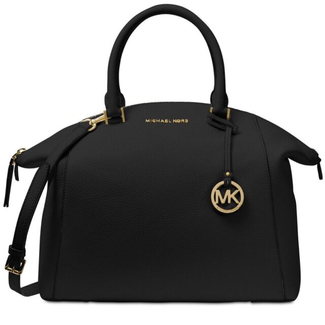 New Michael Kors Mk Logo Riley Large Satchel Bag Black Leather Tote Gold Tone
