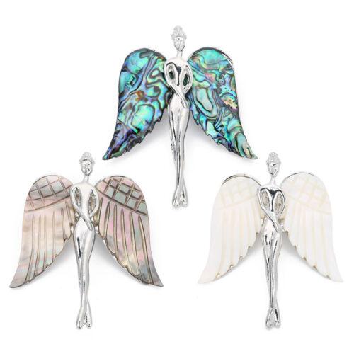 Women Fashion Jewelry 56x64mm Natural Abalone Shell Angle Aile Alliage Broche Pin