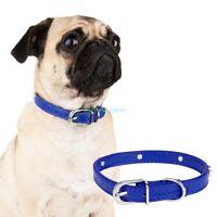 Blue Adjustable Pu Leather Paw Print Pet Puppy Dog Collar Neck Buckle S M L Xl