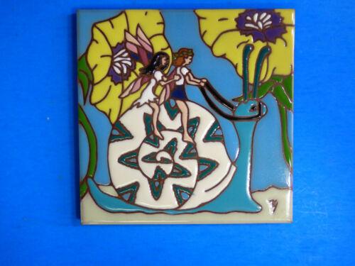 """Ceramic Art Tile 6/""""x6/"""" Garden Fairies Hitching a Ride on a Snail Trivet Wall M58"""