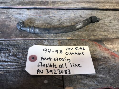 94-98 5.9L 12V CUMMINS FLEXIBLE OIL LINE FOR POWER STEERING VACUUM PUMP 3923083