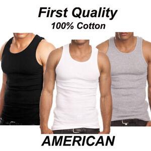 3-Piece-Mix-Pack-Men-039-s-Plain-Ribbed-Tank-Top-A-Shirt-Undershirt-100-Cotton