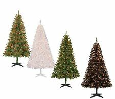 Christmas Tree & Stand 6.5 Ft Pre-Lit  Xmas Pine Decor Clear or Color Lights NEW