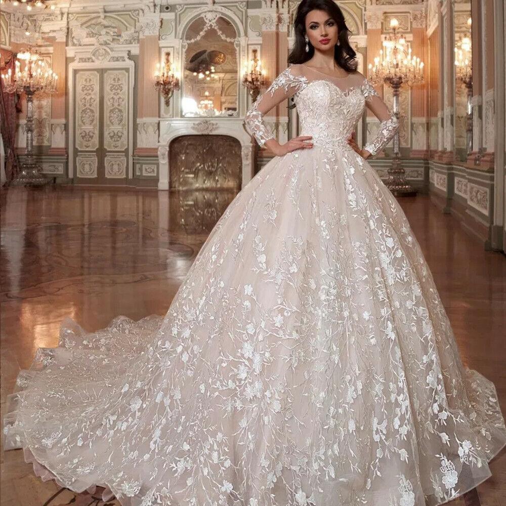 Gorgeous Lace Long Sleeve White/Ivory Wedding Dress Puffy Customized Bridal Gown