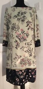 Beige-tunic-midi-dress-from-M-amp-Co-with-delicate-pink-amp-grey-flowers-size-12