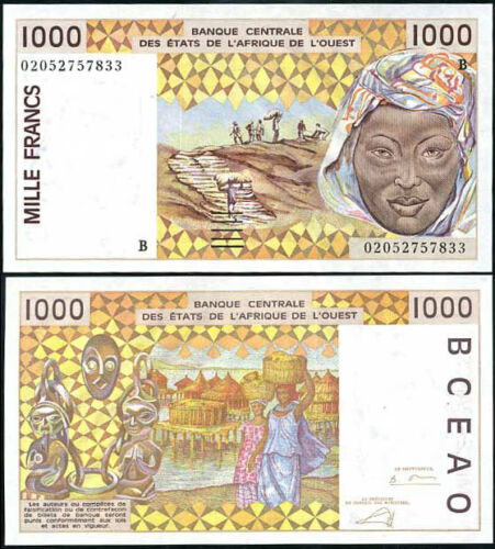 BENIN WEST AFRICAN STATE 1000 1,000 FRANCS 2002 P 211 b UNC