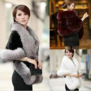 df8d29e9708e Women Faux Fur Winter Coat Scarf Shawl Cape Wrap Poncho Stole Jacket ...