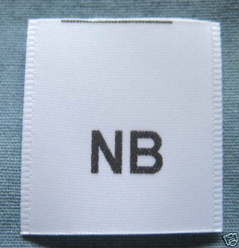 NEW BORN SIZE TAG 50 PRINTED CLOTHING LABELS NB