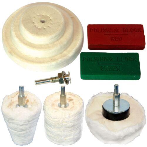 Silverline 9pc polissage kit grand dôme tasse cylindre balai composé polissage