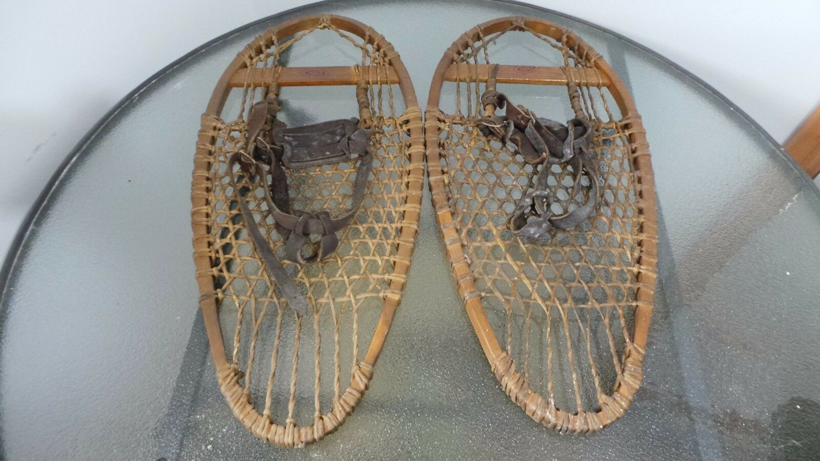 GREAT  OLD Snowshoes 25  Long by 11  wide with OLD LEATHER Bindings Signed FABER  on sale