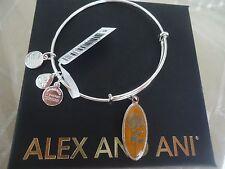 Alex and Ani GOLDEN FLOWER CHRYSANTHEMUM Charm Bangle Shiny Silver Tag Card& Box