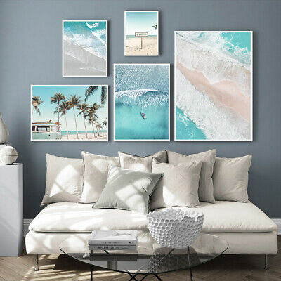 Nordic Style Picture Beach Ocean Waves Poster Landscape Wall Art Canvas Print