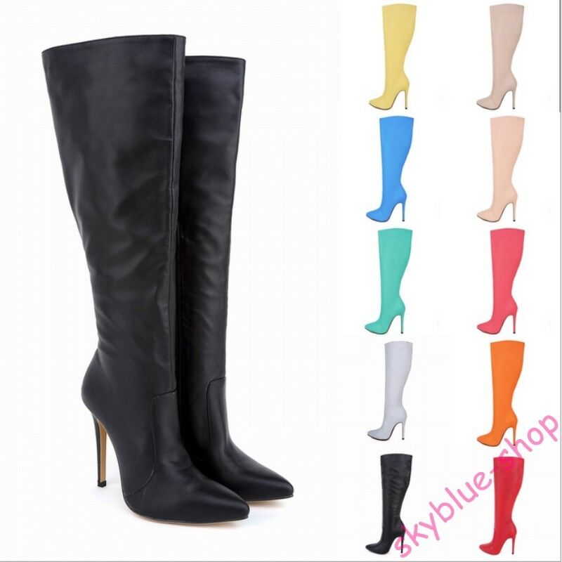 Womens Pointy Toe Leather Candy colors Stiletto High Heels Knee High Thigh Boots