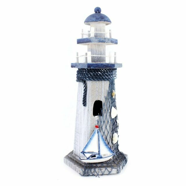 Sail Boat Wooden Lighthouse 10 High