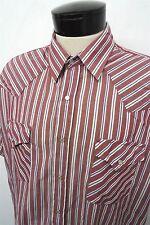 Plains Western Wear red pearl button snap western shirt sz XL mens S/S#7409
