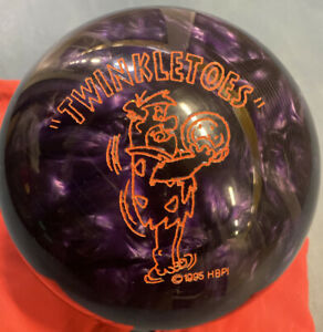 VTG-1995-Twinkletoes-Flintstone-AMF-14-Lb-Bowling-Ball-Purple-Swirl-NOT-DRILLED