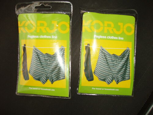 KORJO Travel Camping Washing Pegless Clothes Line or 8 Pegs Hanging Clothesline