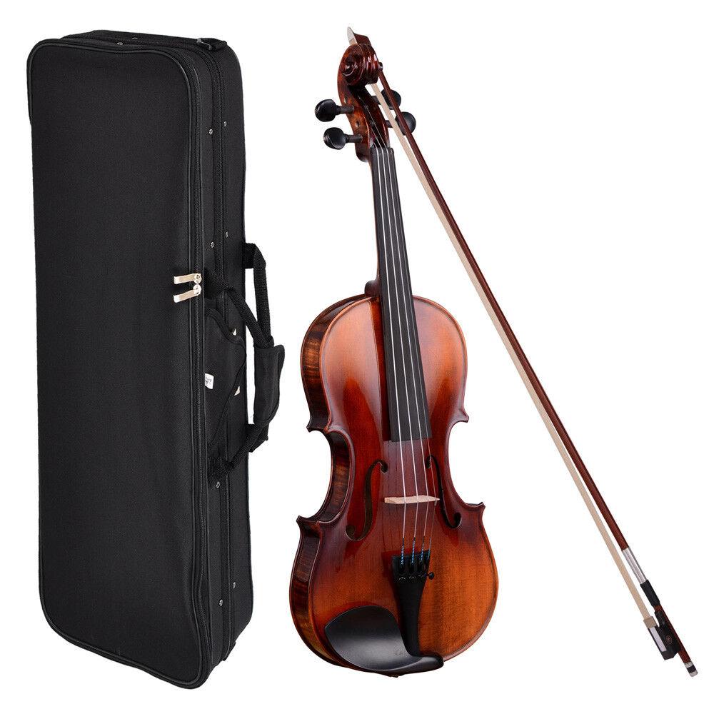 Full Size 4 4 Handmade Stradivari Copy German Style Violin Fiddle Case Bow