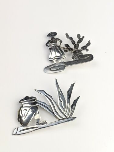 Pina Sterling Vintage Signed  Mexican Sterling Silver Man and Cactus Pin Maricela Sterling