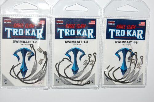 5 packs lazer tro kar trokar swimbait hooks 3//0 tk170-3//0 bass hooks 1//8oz
