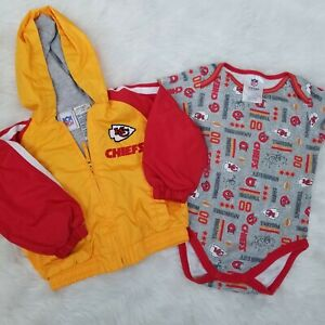 save off c0fef ee164 Details about NFL Kansas City Chiefs Baby Toddler Size 18mo Hooded Jacket  Baby Snap Body Suit