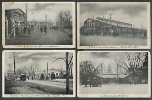 Cresskill-Dumont-NJ-Four-c-WWI-Postcards-CAMP-MERRITT-Stockade-YMCA-Picket