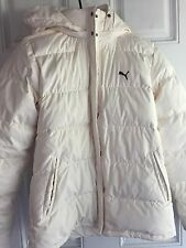 PUMA Women's Down Hooded Cream Jacket Coat Sz Small S Zip And Snap