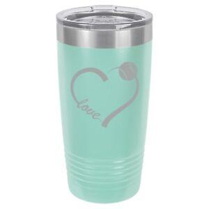 149b9abc915 Details about Tumbler 20oz 30oz Travel Mug Cup Stainless Steel Love Heart  Baseball Softball