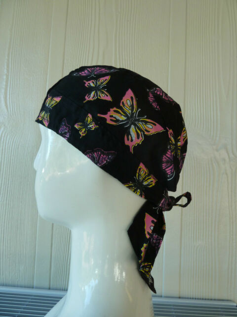 100% cotton Biker Durag/Helmet liner. (butterfly) Bandana-Head Wrap, Head Wear