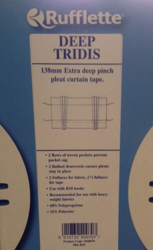 3mt Piece Rufflette DEEP Tridis Pinch Pleat Curtain Tape//Fabric 138mm
