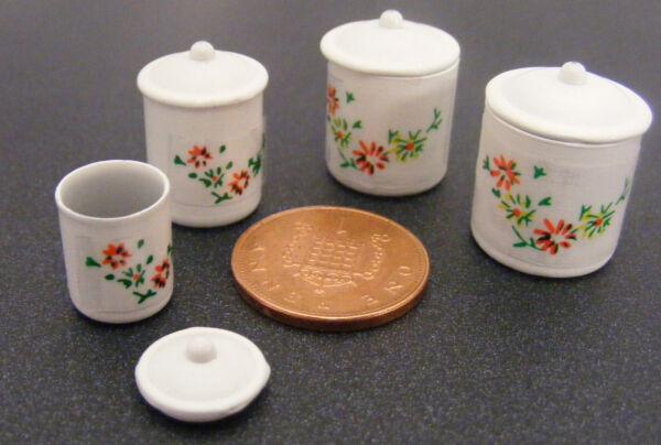 Bellissimo Scala 1:12 Set Di 4 Contenitori Di Memoria Da Cucina In Metallo Casa Delle Bambole Accessorio Alimentare Prima Qualità
