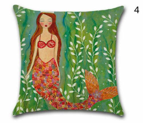 Mermaid Pillow Case Protector Cushion Cover Sofa Throw Cotton Linen Cartoons