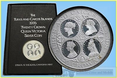 Coins Turks And Caicos Islands 20 Crowns '4-queens' Silver Proof Coin In Booklet Colours Are Striking