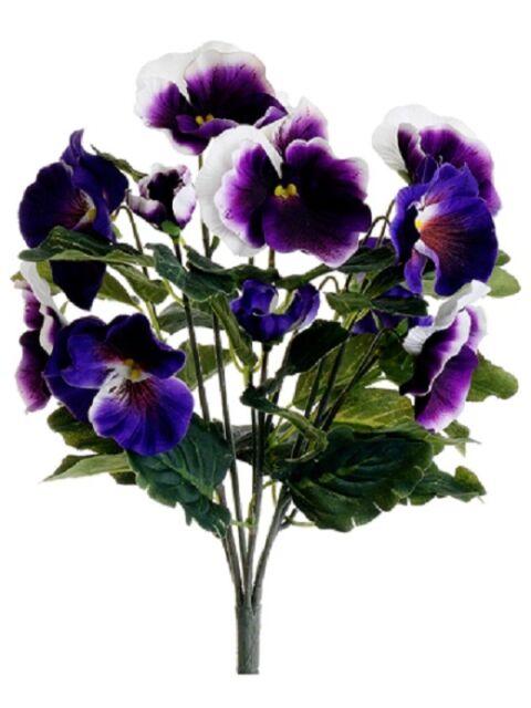"Flower Silk Plant Bouquet Decor Lavender Yellow Pack of 12 8/"" Pansy Bush"