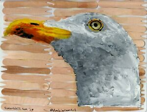 seagull acrylic art painting on chip shop forks. Seaside beach fish and chips #3