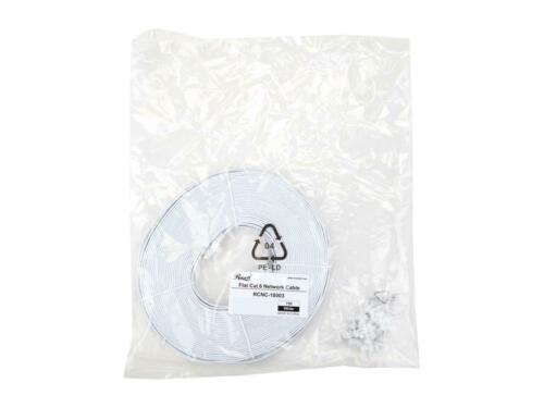 Cat 6 White Cat 6 Flat Ethernet Cable with Cable Clip Rosewill RCNC-18003 75 ft