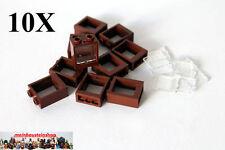 10X Lego® Fenster, Window mit Scheibe, rotbraun, reddish brown, 60592 / 60601