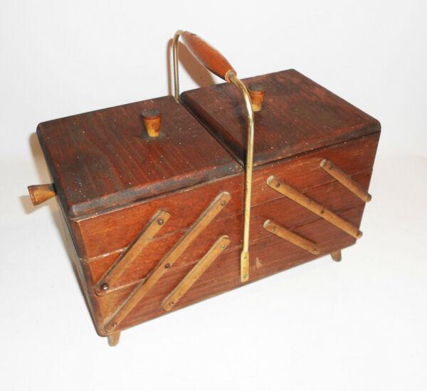 Antiguo Caja De Costura Ddr 1950er Mid Century Vintage En Dolor