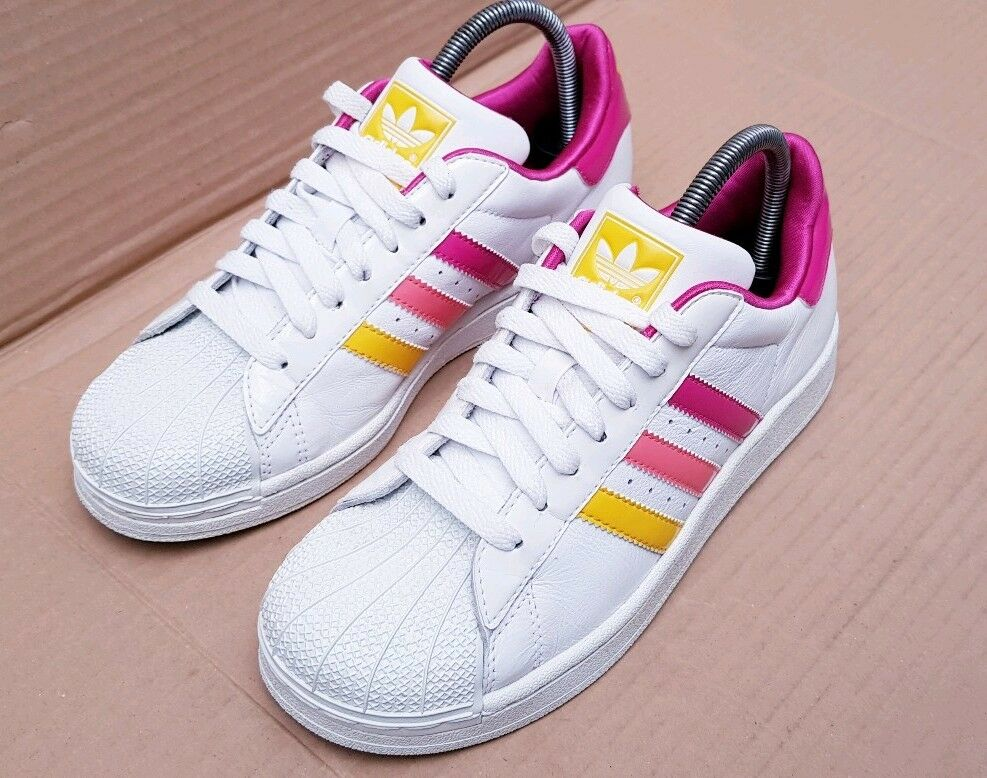 ADIDAS SUPERSTAR TRAINERS WHITE PINKS AND YELLOW SIZE 4 UK EXCELLENT