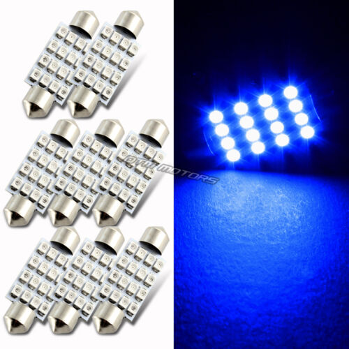 Blue 8x 41mm Festoon Bright 16-SMD LED Glove Box//Dome//Map Single Light Bulbs