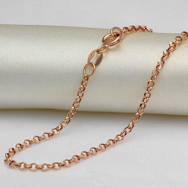 Nuova 39.9cm 18kt 18kt 18kt oro rosa Collana 2mm Rolo Collana a Catenina Au750 c02e21