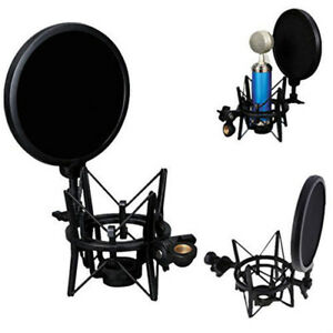Professional-Microphone-Mic-Shock-Mount-Holder-with-Pop-Shield-Filter-Screen-NEW