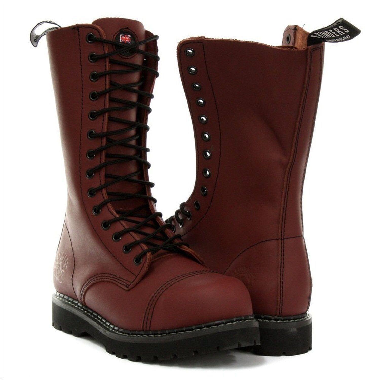 Grinders Herald Unisex Combat Stivali in Pelle Rosso Ciliegia Cap in Acciaio di sicurezza Cap Ciliegia Militare 3e458a